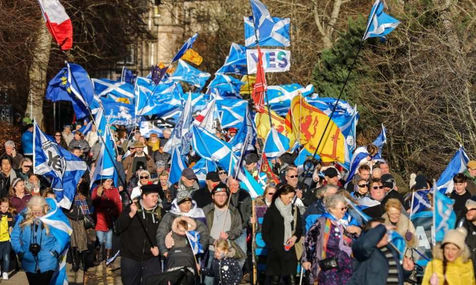 A march in Inverness by supporters of Scottish independence.