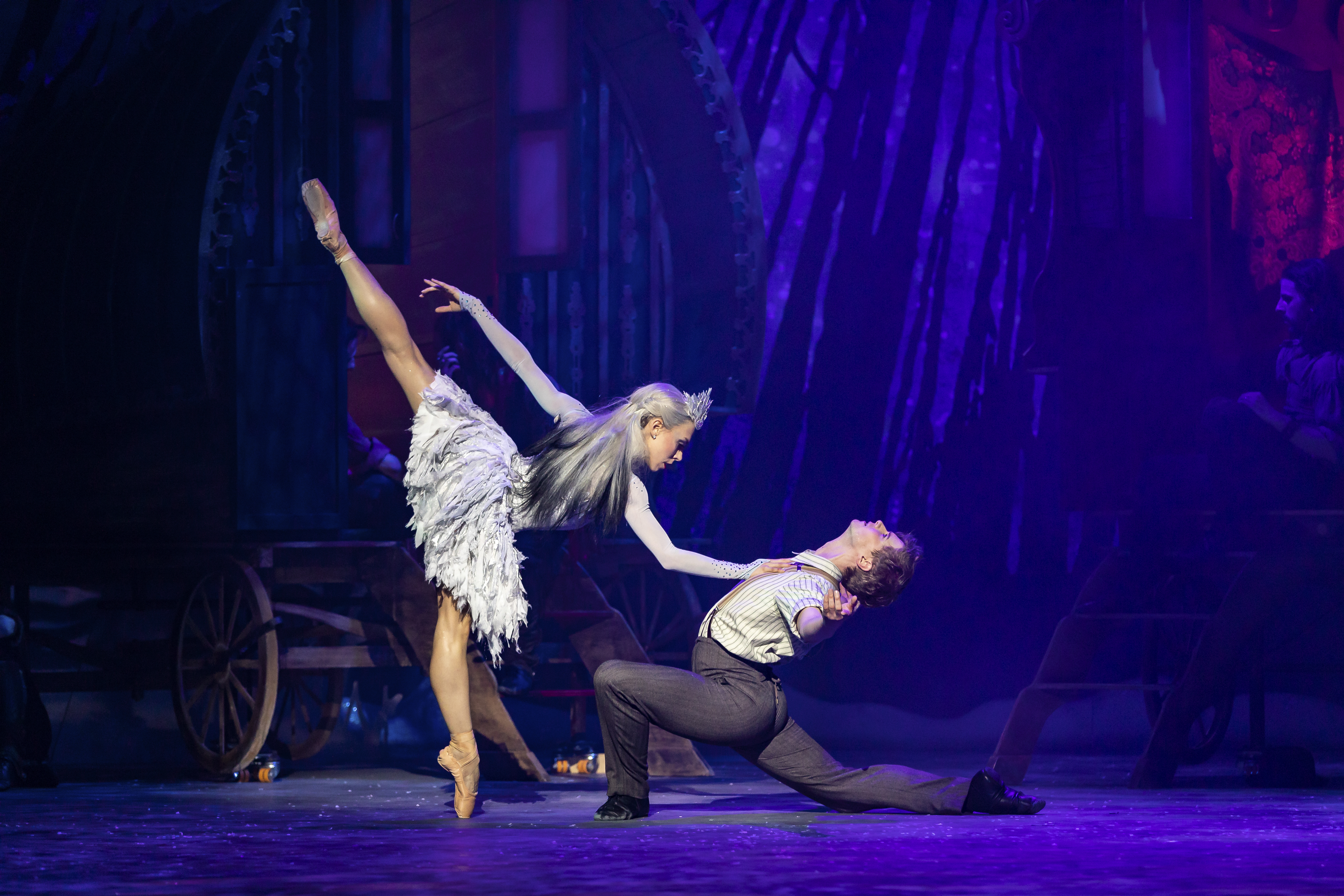 Constance Devernay as The Snow Queen and Andrew Peasgood as Kai in Christopher Hampson's The Snow Queen.  Picture by Andy Ross