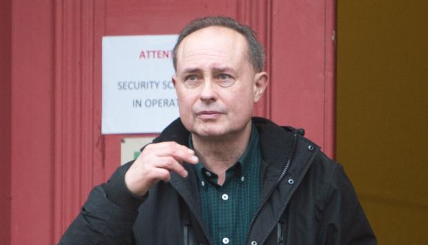 Mark Finch leaving Elgin Sheriff Court.