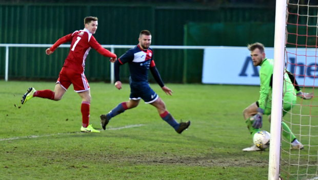 Graeme Rodger completes his hat-trick.  Picture by Chris Sumner