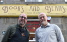 New owner John Wigglesworth and former owner Craig Willox outside Books and Beans. Picture by Darrell Benns