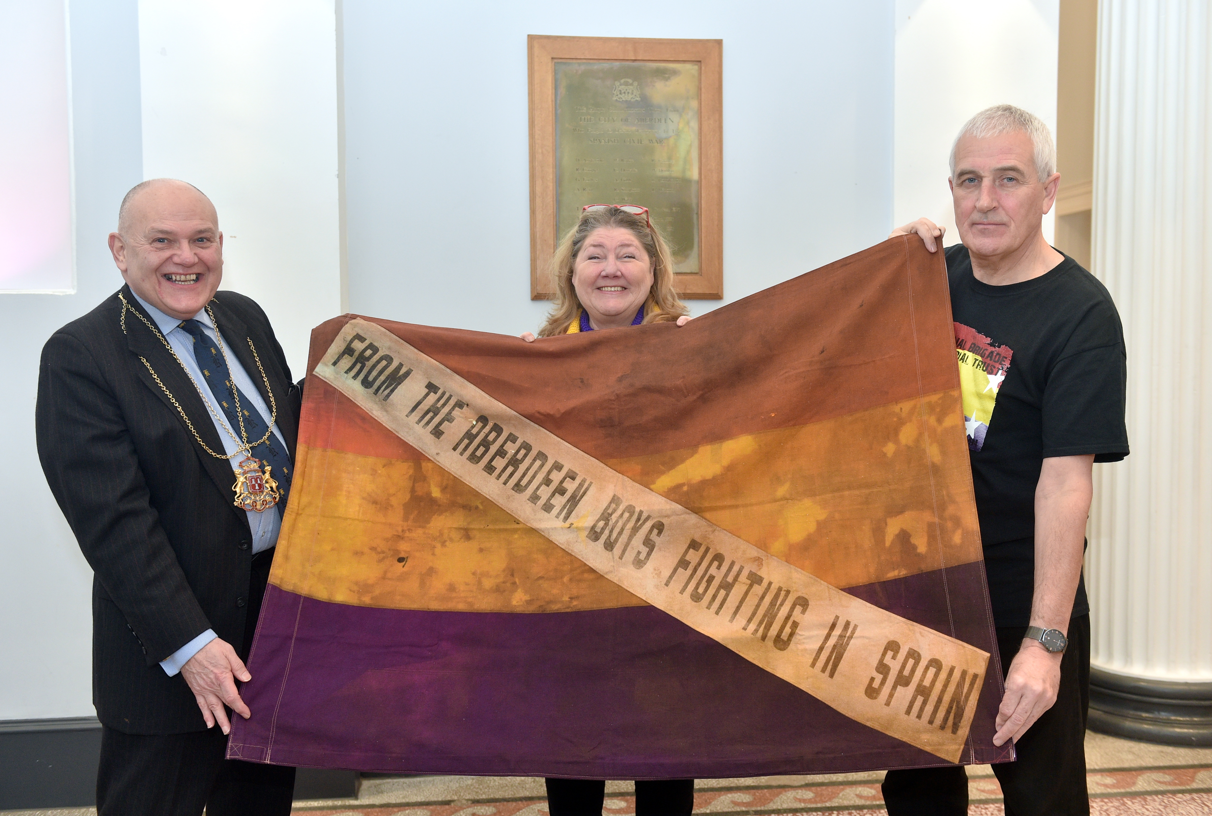 Lord Provost Barney Crockett, Maureen Saunders and former union organiser Tommy Campbell at re-dedication service for the memorial plaque for the XV international brigade held at the Music Hall.  Picture by Darrell Benns.