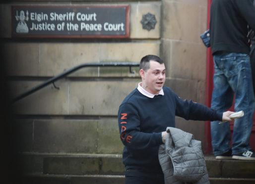 Liam Forsyth leaving Elgin Sheriff Court.