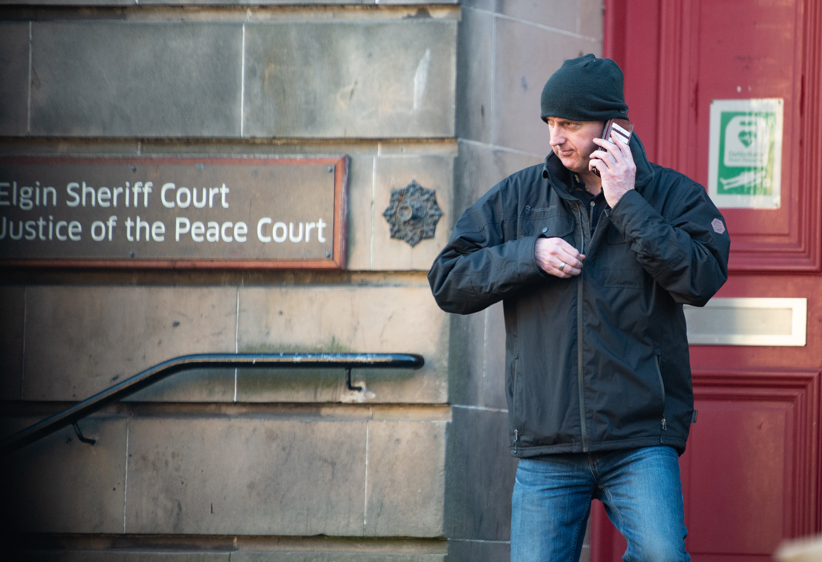 Lee Blackburn leaving Elgin Sheriff Court.