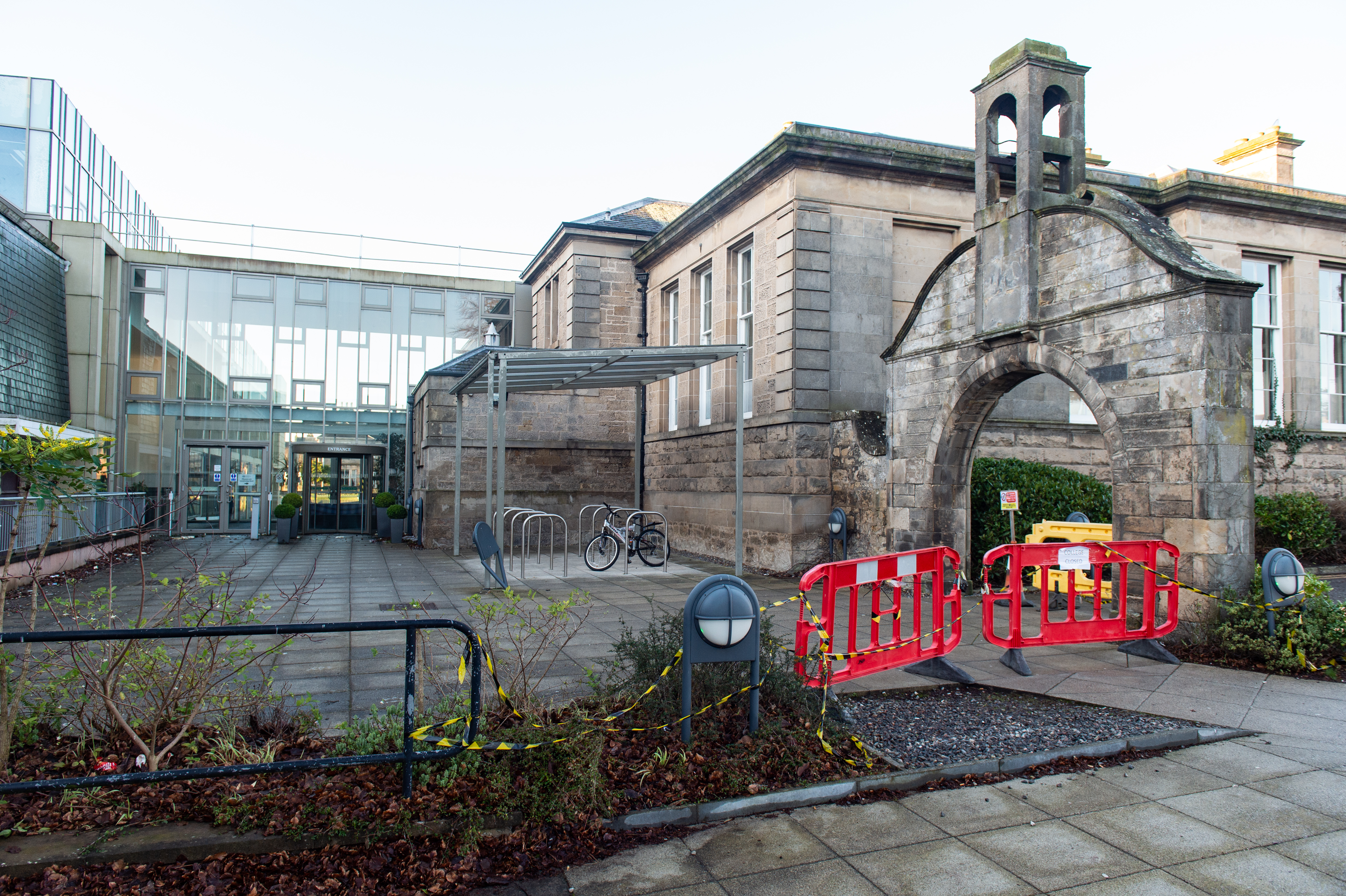 Pictures by JASON HEDGES     Pictures show Moray College UHI as closed today 14/01/2020 due to aluminium roof sheeting displacement from storm Brendan. Pictures by JASON HEDGES