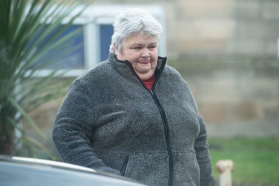 Janice Russell leaving Elgin Sheriff Court.