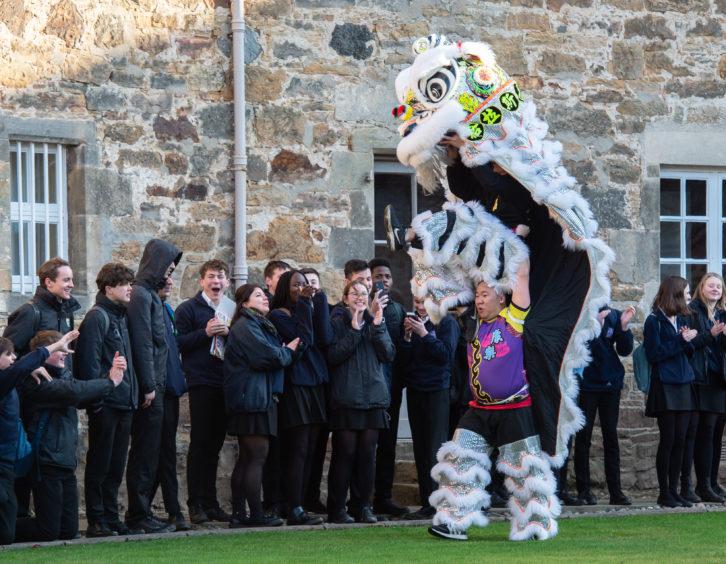 Lion dancing at Gordonstoun.