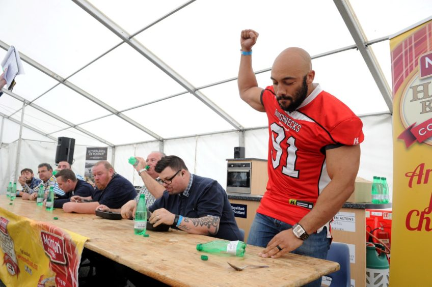 The Haggis Eating competition (winner) Richard Roach in 2017.  Picture by KENNY ELRICK