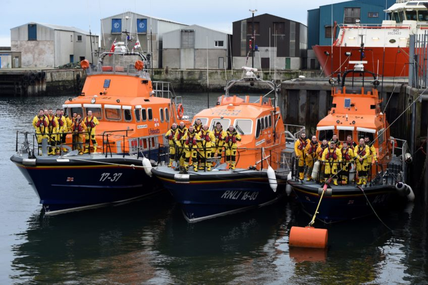 (L-R) Buckie, Peterhead, Fraserburgh lifeboats.  Picture by KENNY ELRICK