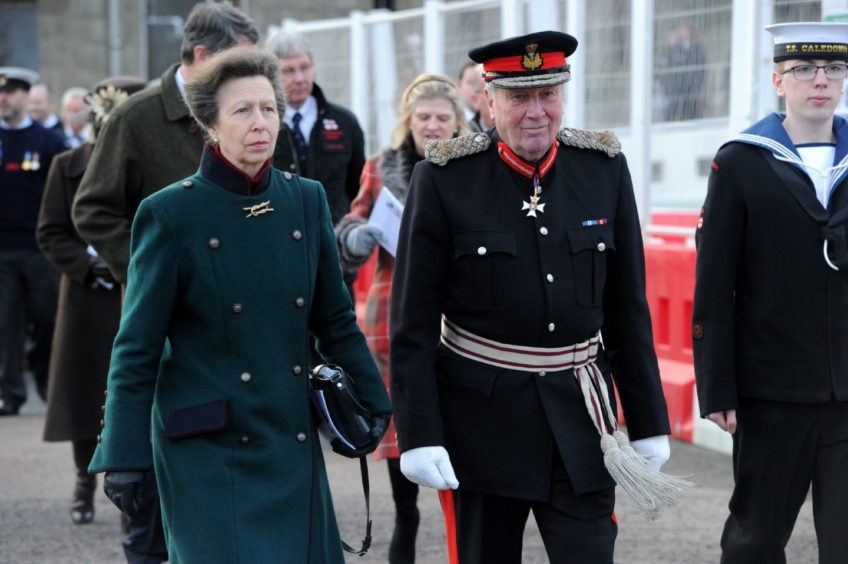 Princess Anne with James Ingleby, Lord-Lieutenant of Aberdeenshire.  Picture by KENNY ELRICK