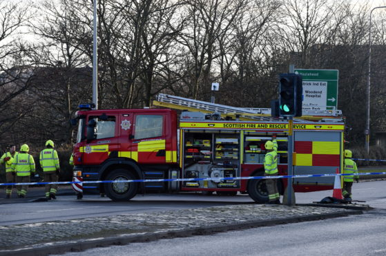 Emergency services at the scene of the crash on North Anderson Drive. Picture by Kenny Elrick