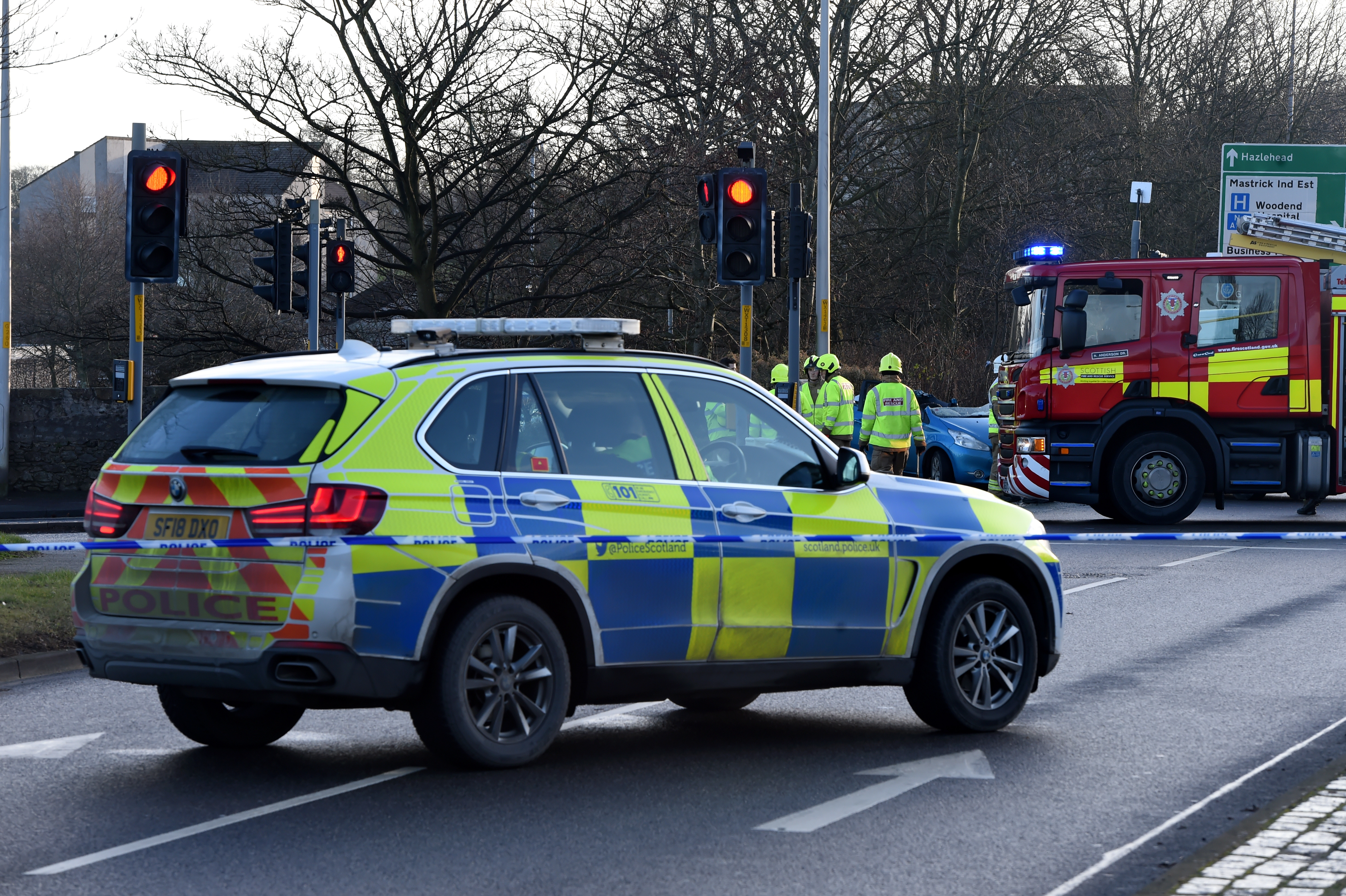 Police Scotland at the scene of the crash.  Picture by Kenny Elrick.