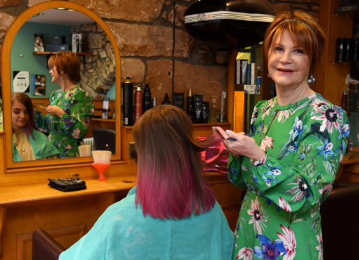 Hairdresser Fiona Angus McCloud will soon be celebrating its anniversary and she will be retiring.  Picture by Kenny Elrick.