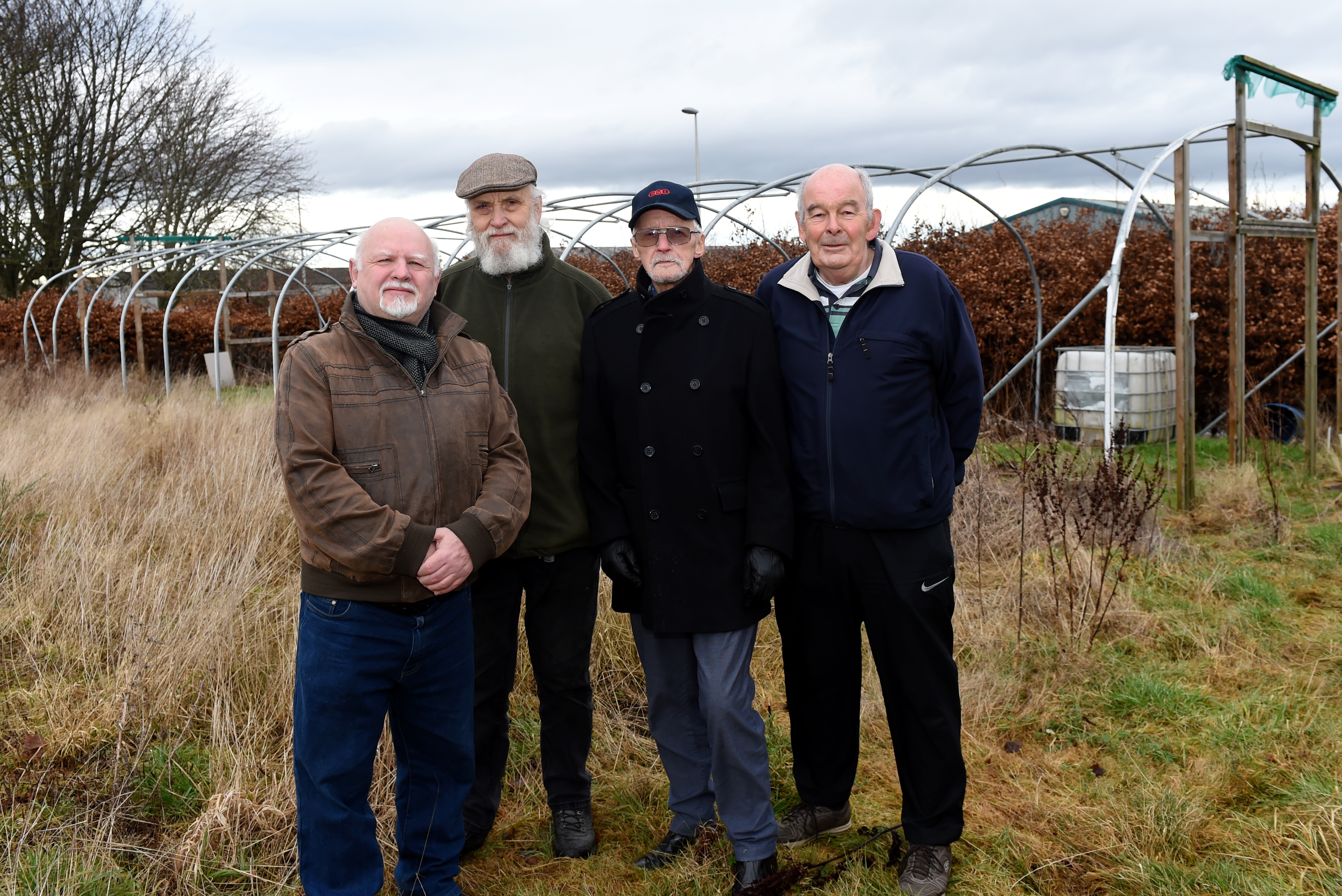 L-R: Archie Peebles, Leith Robertson, Jim Smith, Alex Smith posing at the existing site.  Picture by Caledonia Jeffrey