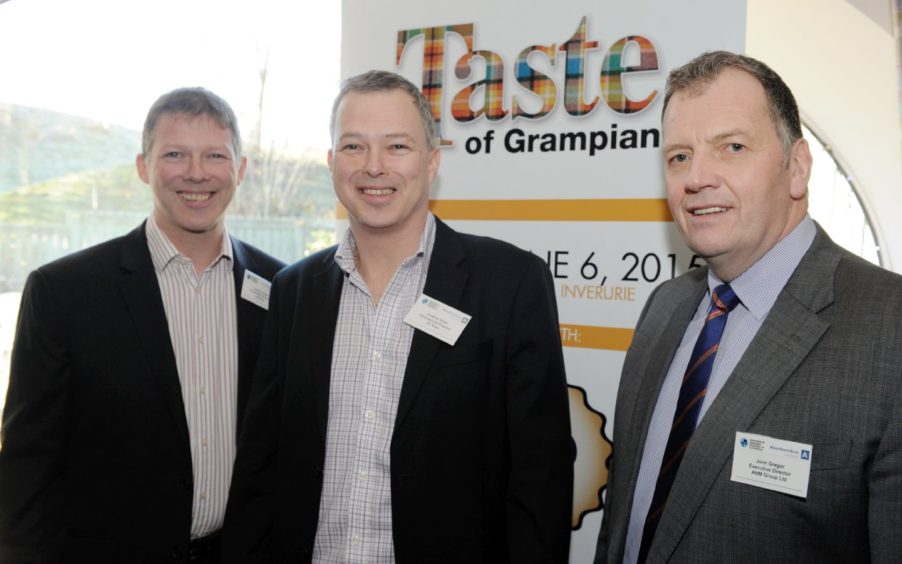 The launch of Taste of Grampian 2015 at the Porterhouse Restaurant, Thainstone Centre, Inverurie.       Pictured - L-R Sponsors JG Ross, Directors Cameron Ross and Graeme Ross with Taste of Grampian Chairman John Gregor.  Picture by Kami Thomson