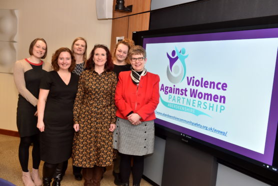 L-R - Laura James, Leigh Jolly, Det Inspector Karen Main, Alison Hay, Arizona Mercedes Brodie, Councillor Alison Evison.   Picture by Scott Baxter