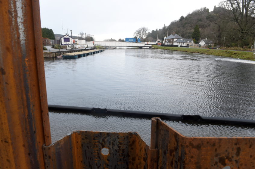 Construction work under way in the drained Caledonian Canal at Tomnahurich in Inverness as works go ahead on the construction of a second swing bridge. Picture by Sandy McCook
