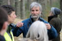 Picture by SANDY McCOOK    24th January '20 Cairngorms National Park planning committee site sisit for seven propsed houses in Lettoch Wood, Nethy Bridge. Objector Gus Jones speaks during the visit.