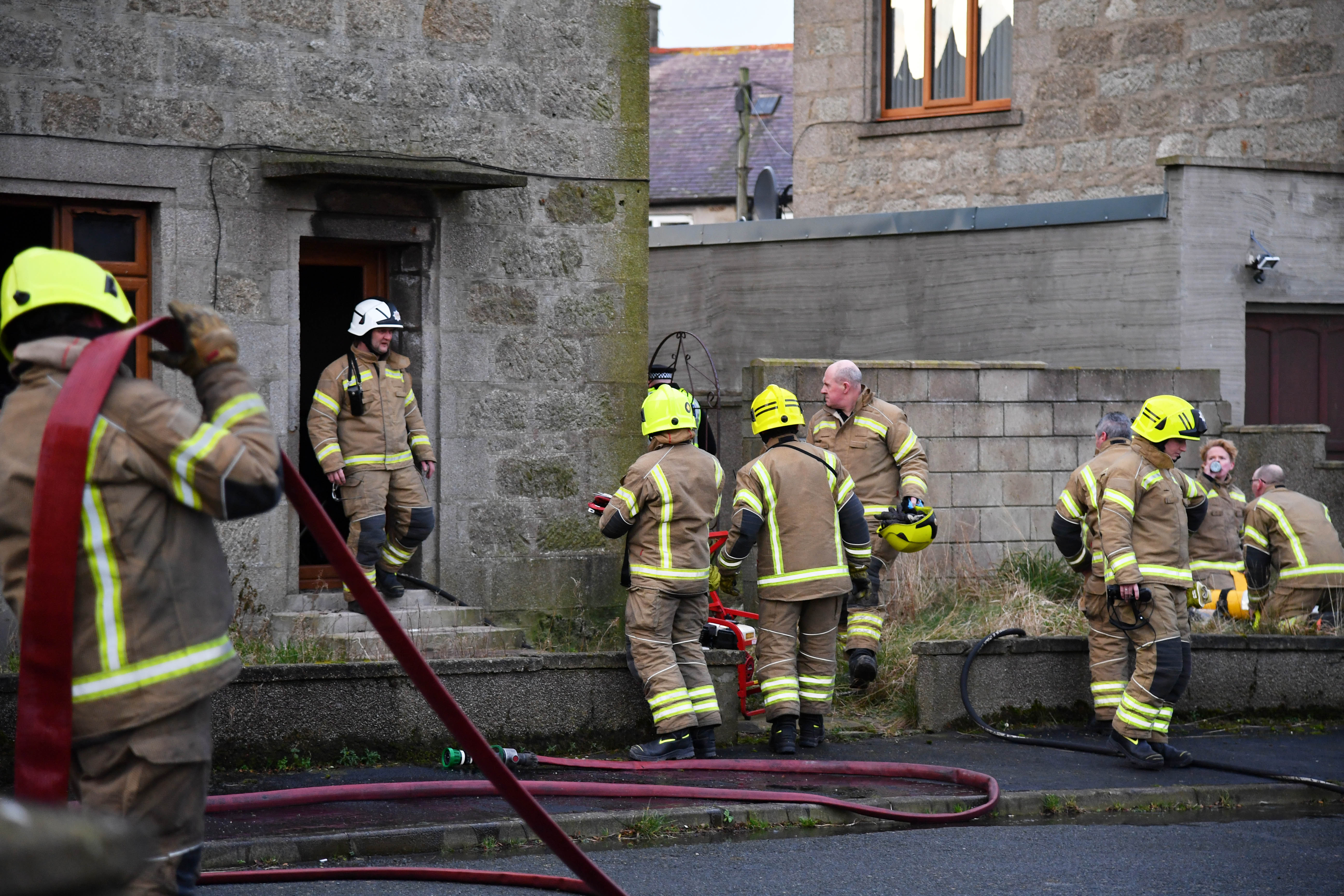 Fire crews at the scene of a house blaze in Rosehearty