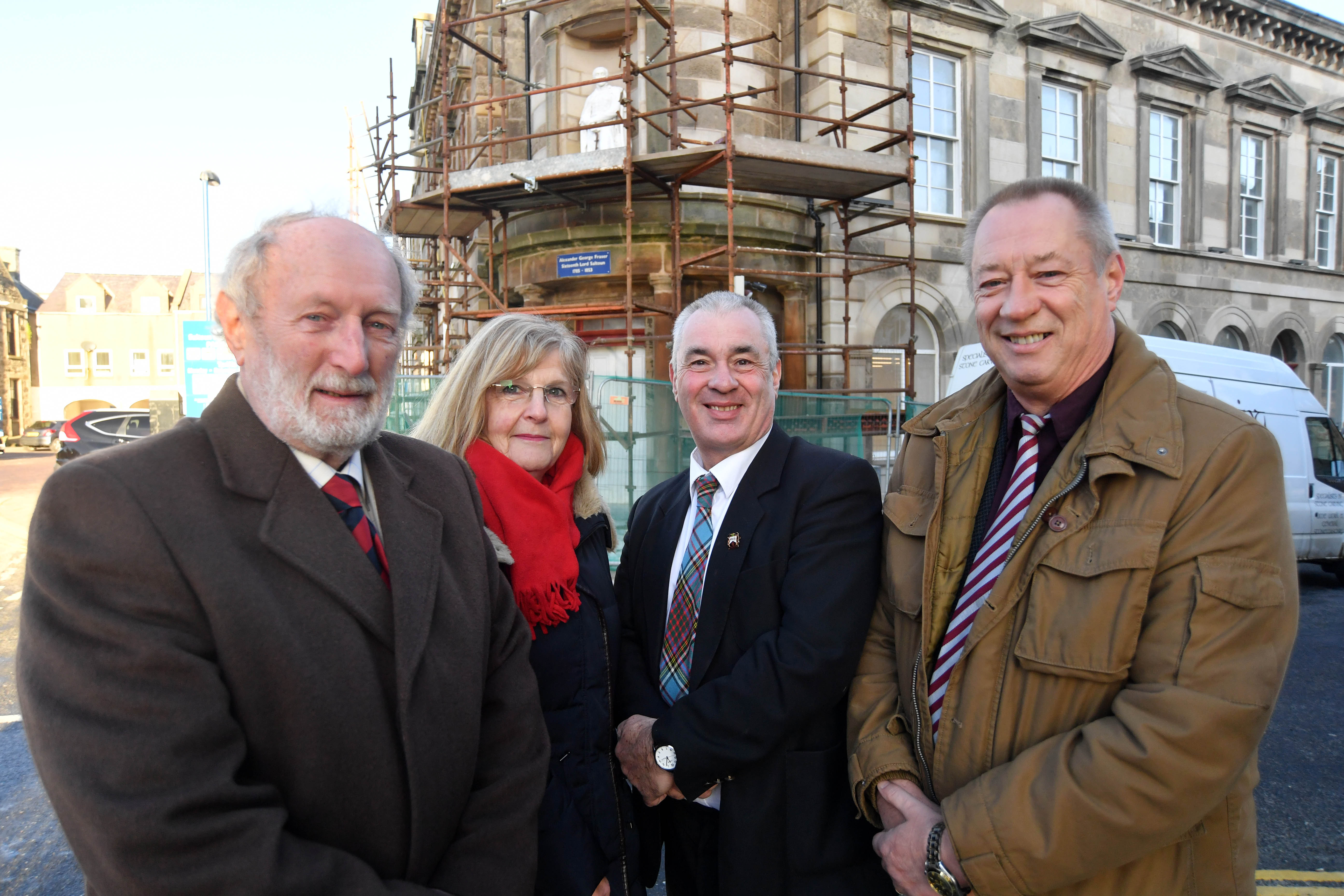 Fraserburgh councillors Charles Buchan, Doreen Mair, Brian Topping and Andy Kille at the Faithlie Centre where refurbishment work is ongoing.