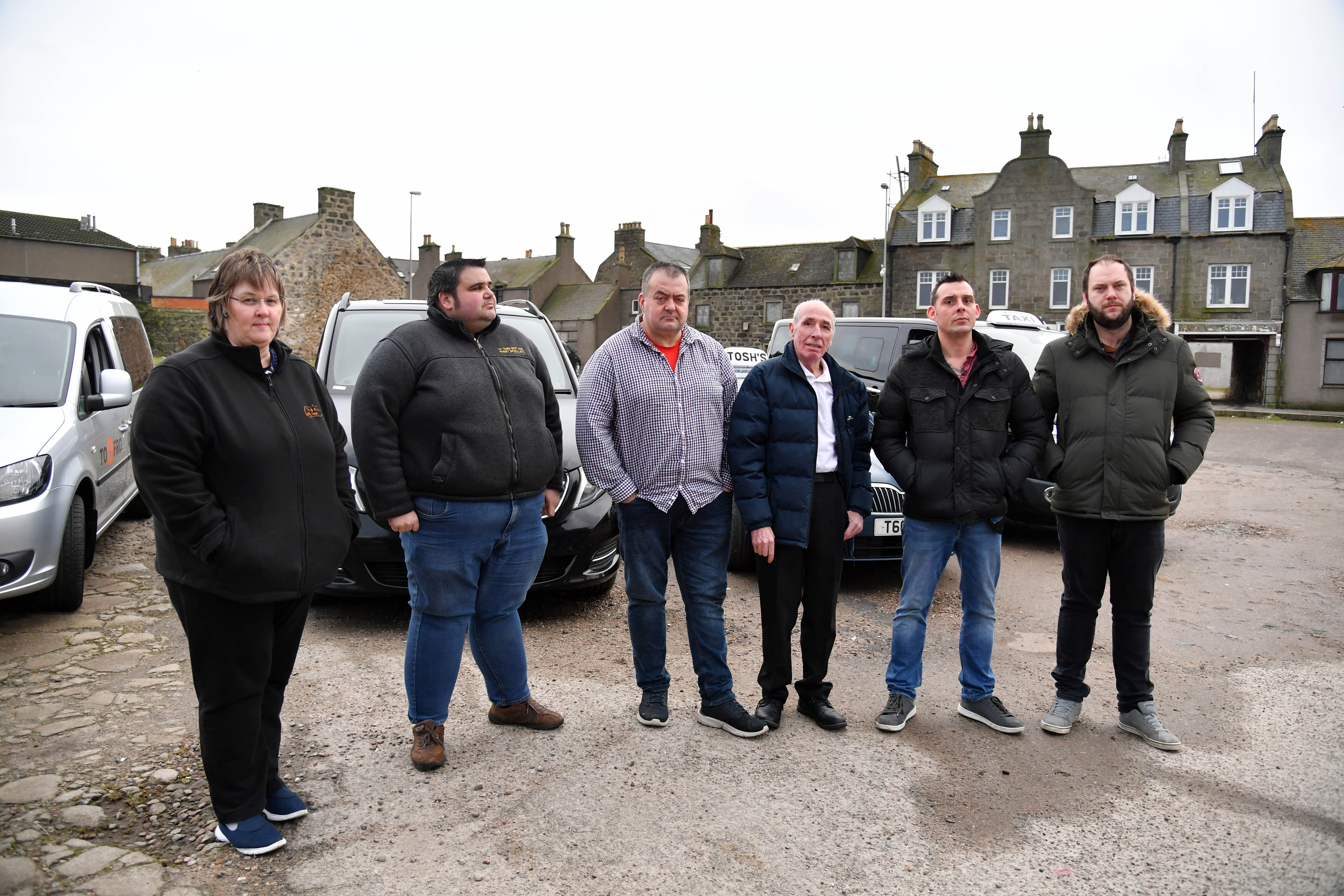 (L-R) Concerned taxi drivers Elaine Morrison, Thomas Beedie, Rodney Watson,Billy Downie, Shaun Downie and John Ritchie.