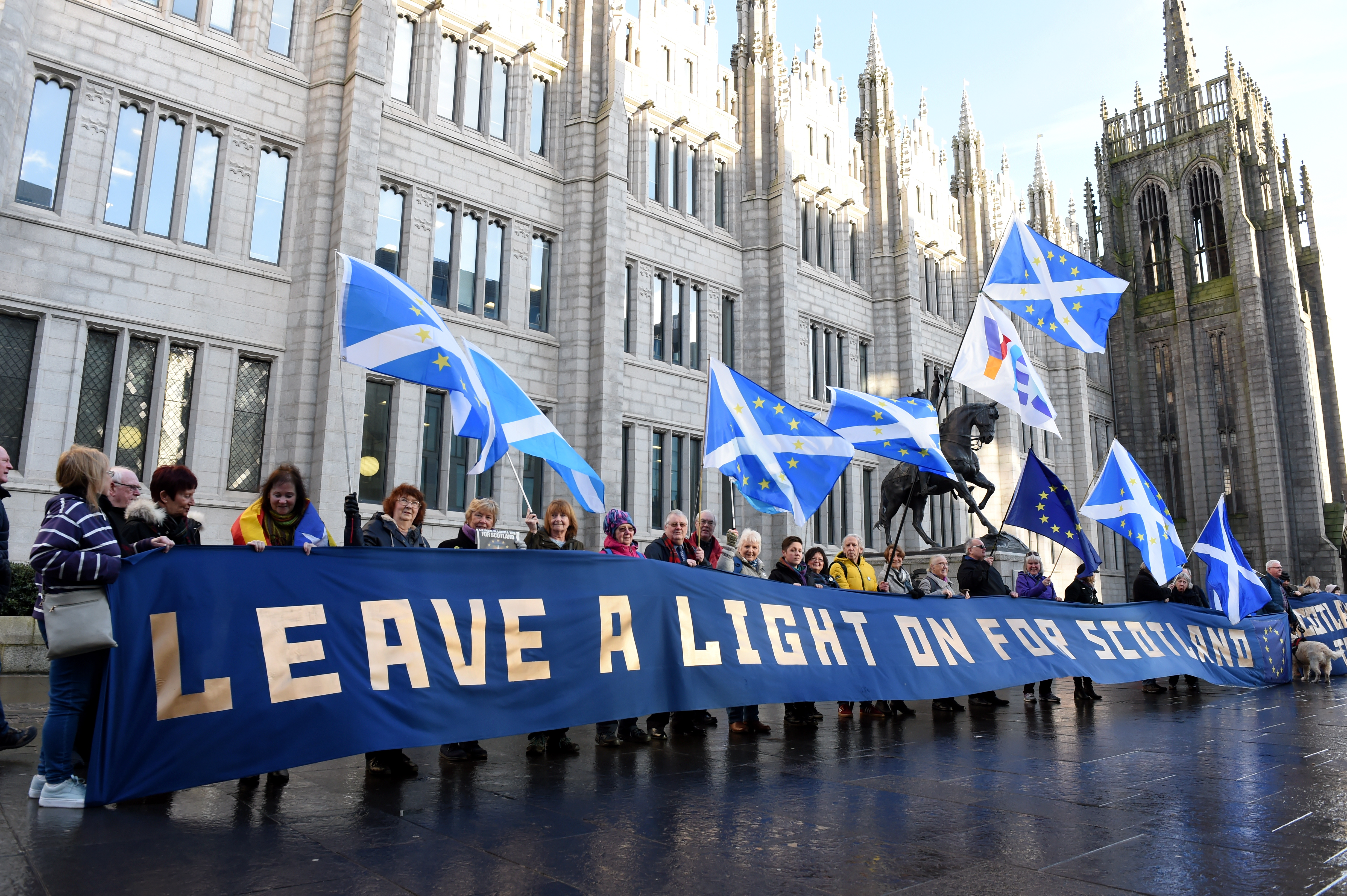 ProtestErs gathered outside Marischal College, Aberdeen, on Brexit Day.