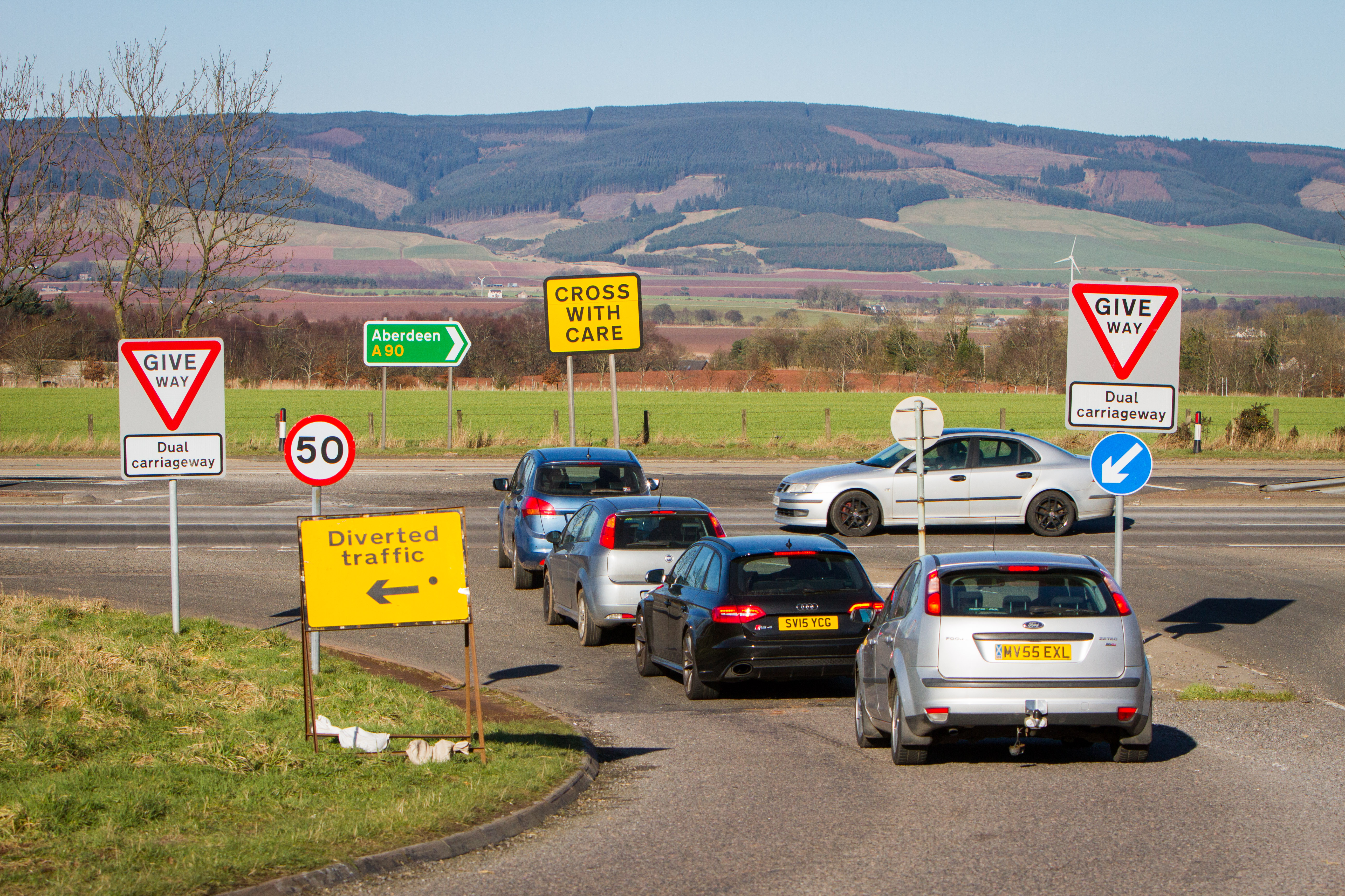 The junction at the A90 linking the Arbroath A937 to Laurencekirk road.