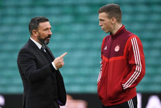 Aberdeen manager Derek McInnes and Lewis Ferguson, right.