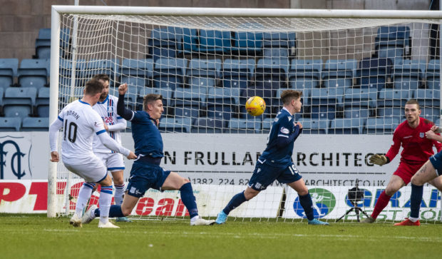 Aaron Doran scores to make it 1-0 during the Ladbrokes Championship match between Dundee and Inverness CT, at the Kilmac Stadium at Dens Park.