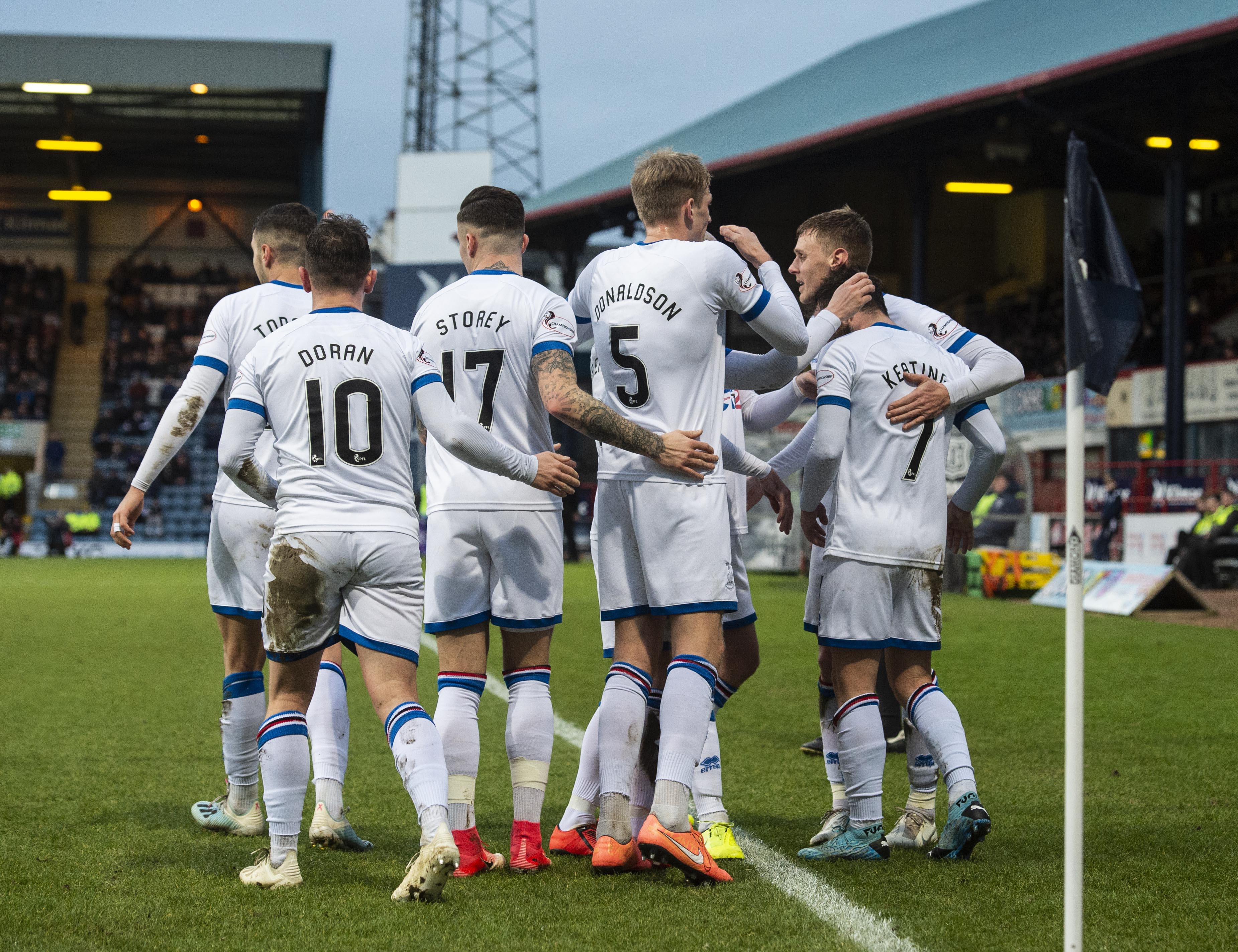 James Keatings, right, celebrates his goal to make it 2-0 during the Ladbrokes Championship match between Dundee and Inverness CT.