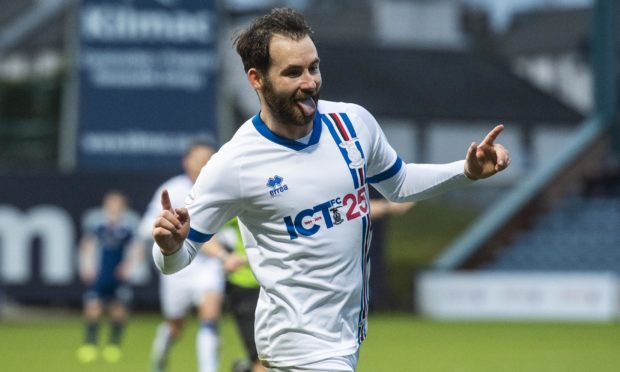James Keatings celebrates scoring for Inverness.