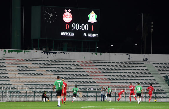Aberdeen were beaten 1-0 by Al Wehdat in Dubai yesterday. Photos: Craig Williamson/SNS