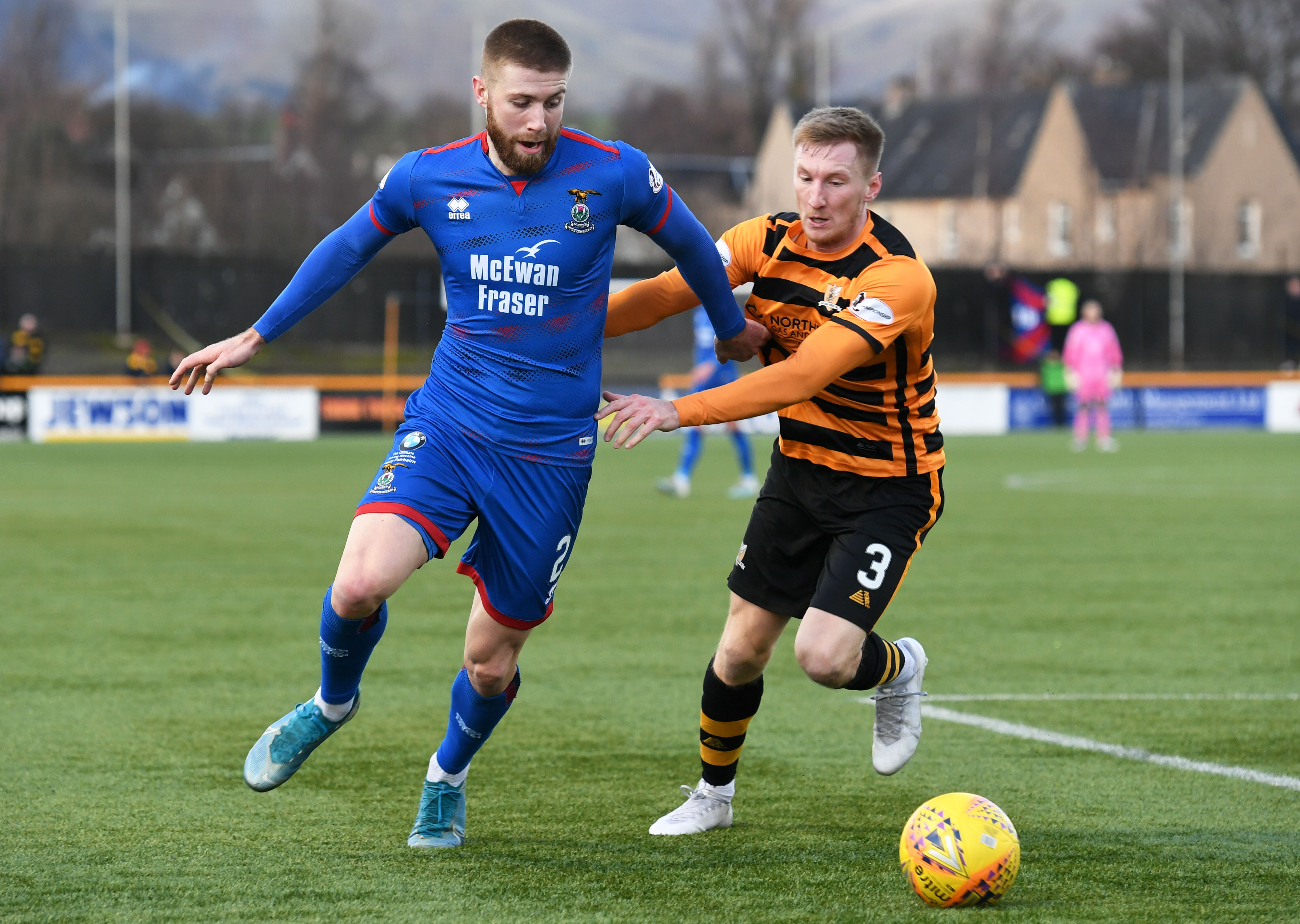 Shaun Rooney (left) competes with Liam Dick during the William Hill Scottish Cup fourth round match between Alloa Athletic and Caley Thistle