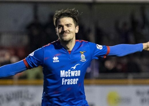Inverness's Charlie Trafford celebrates his goal during the William Hill Scottish Cup fourth round match between Alloa Athletic and Inverness Caledonian Thistle