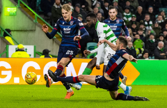 Celtic's Odsonne Edouard scores to make it 3-0 during the Ladbrokes Premiership match between Celtic and Ross County.
