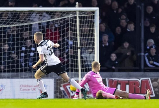 Ayr's Stephen Kelly wheels away after making it 1-0 during a Ladbrokes Championship match between Ayr United and Inverness Caledonian Thistle
