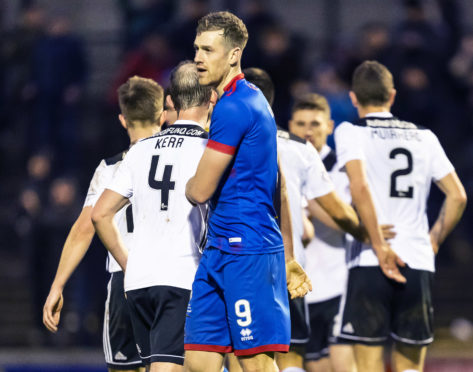 Jordan White at full-time during the Ladbrokes Championship match between Ayr United and Inverness Caledonian Thistle at Somerset Park.