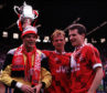 Aberdeen trio Theo Snelders, left, Alex McLeish, centre, and Brian Irvine celebrate the win in 1990.