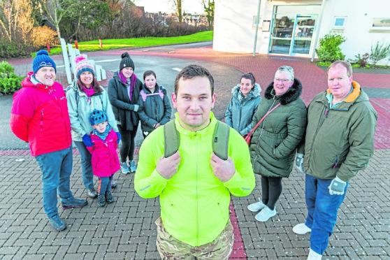Matt Mcallahan with fellow walkers in Nairn.