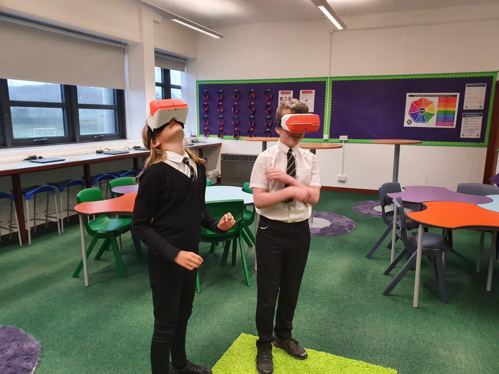 Pupils using the VR headsets.
