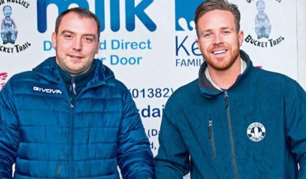 Director of Kerr's Family Dairy, Kelvin Kerr Jnr alongside manager, Paul Johnstone, on left
