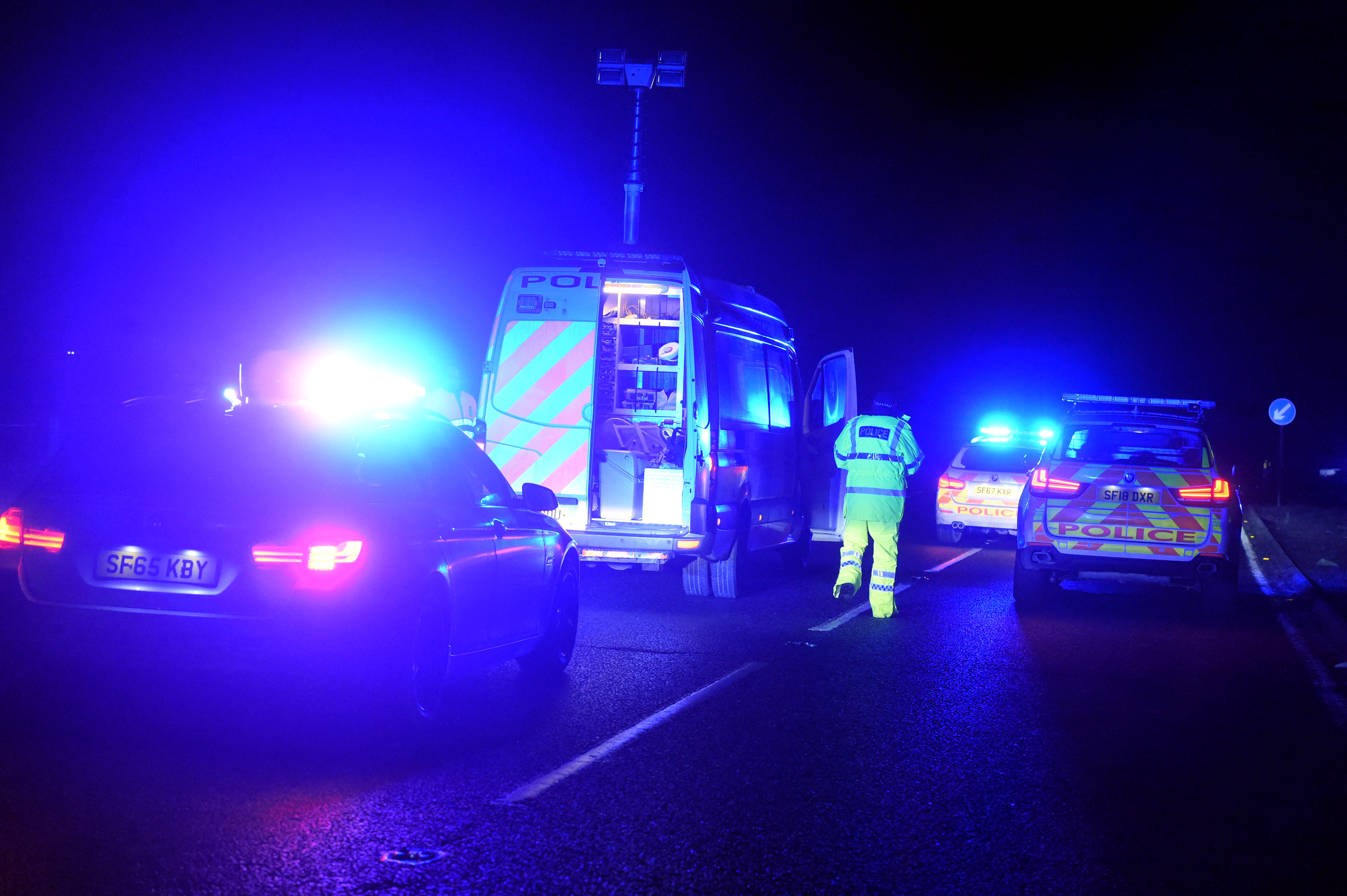 Emergency services at the scene of the fatal crash on the A90 Aberdeen to Dundee road.  Picture by Jim Irvine.