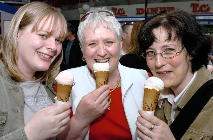 Left to right - Angela Williamson, Grace Williamson and Claire Fraser enjoy an ice cream