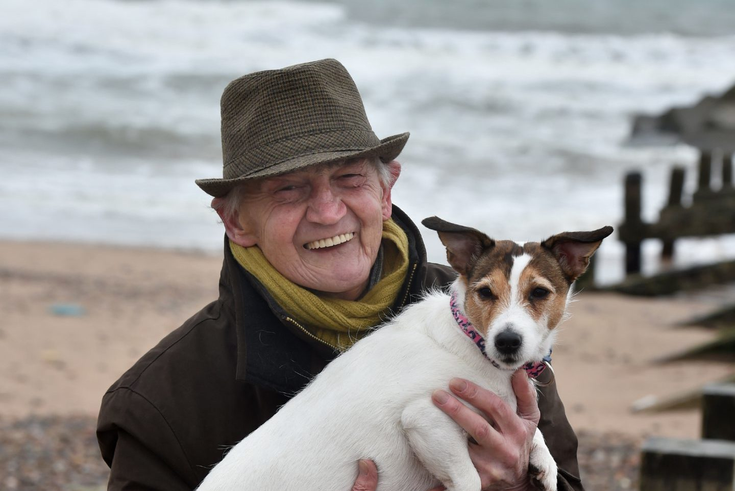 Joe McGunnigle with his Jack Russell (Misty) at Aberdeen Beach.