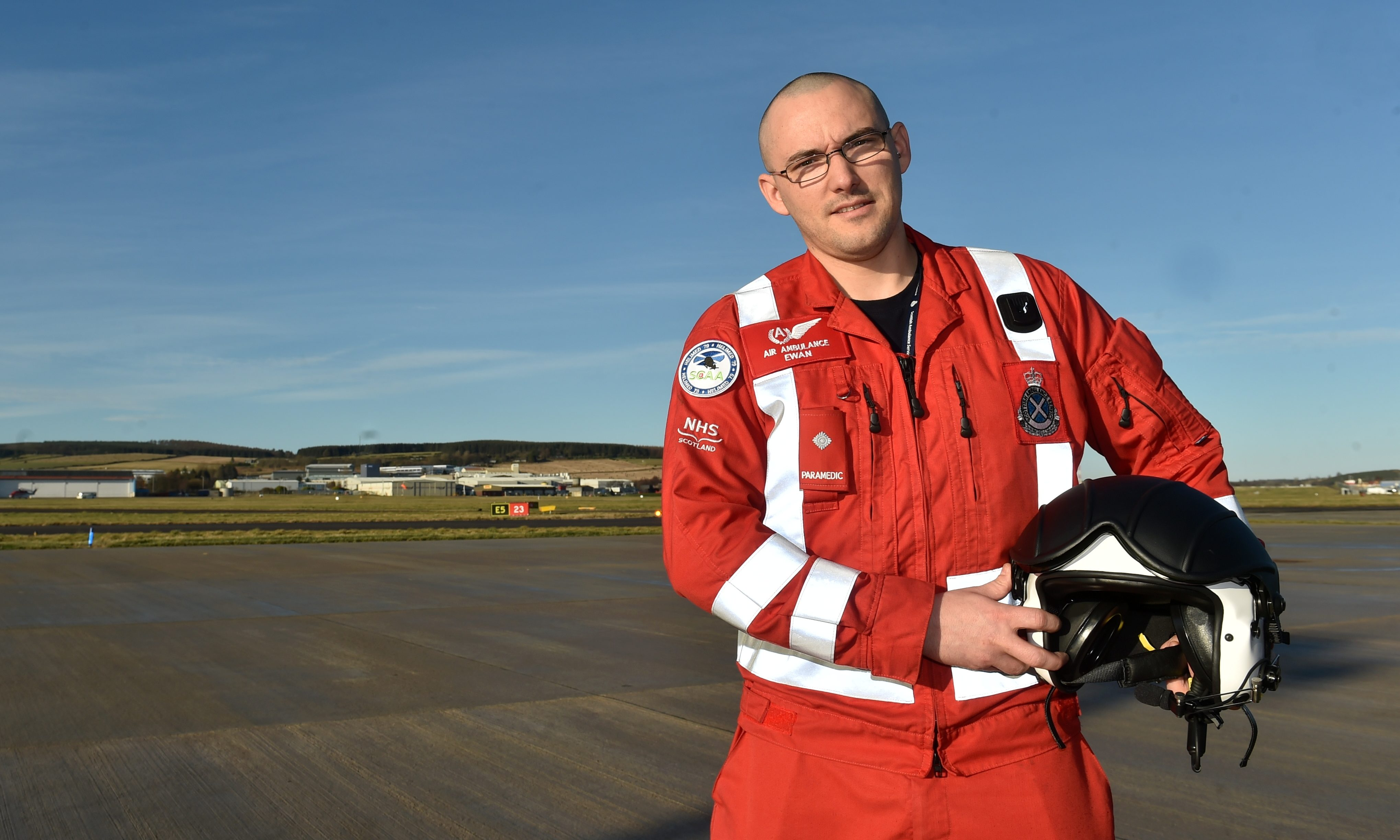 Ewan Littlejohn, lead paramedic with the Aberdeen-based SCAA helimed. Picture by Colin Rennie.