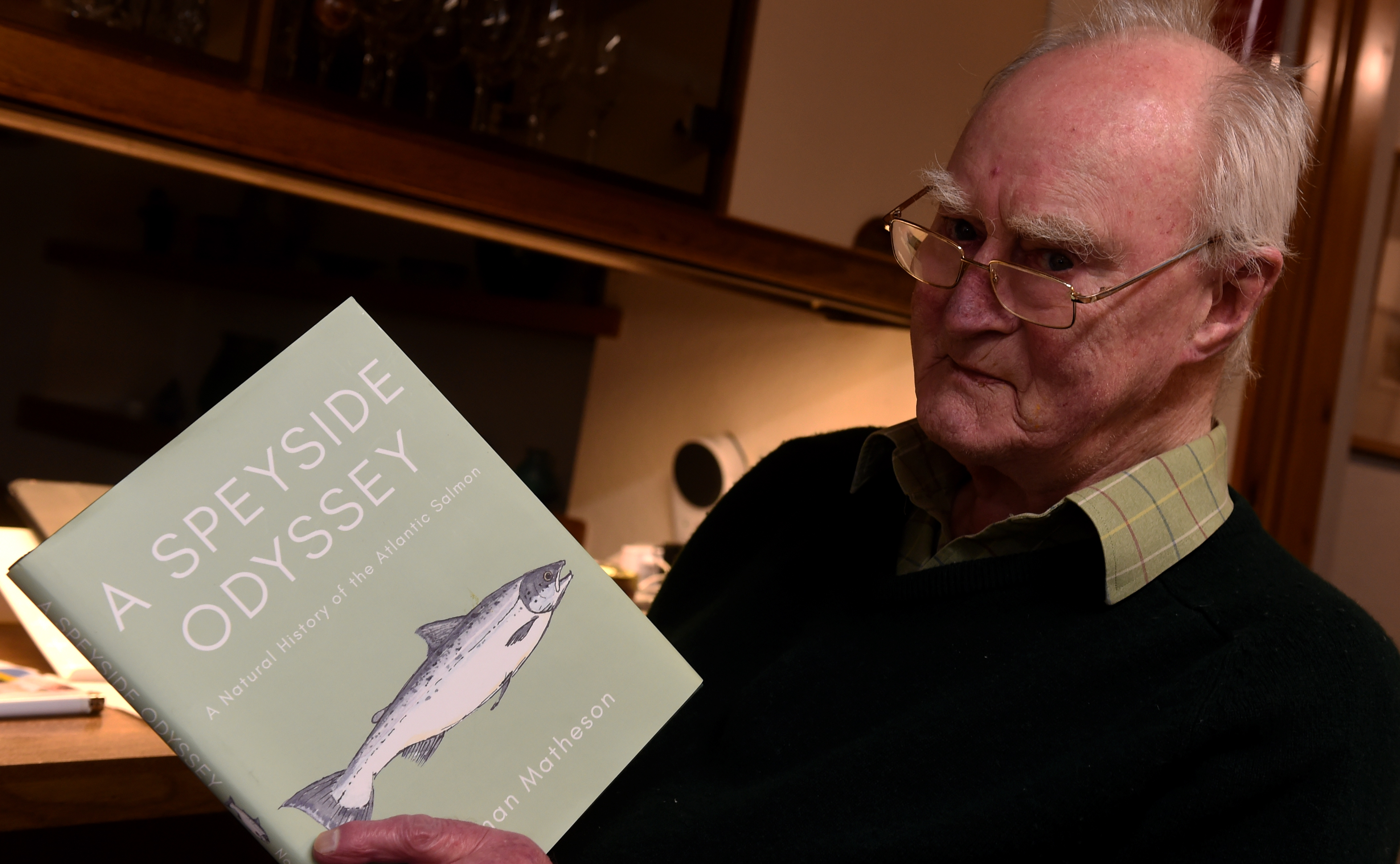 CR0018257 Norman Matheson, author of a Speyside Odyssey which was recently released and is about salmon travelling from Atlantic to Speyside, pictured at home in Milltimber, Aberdeen. Picture by Jim Irvine 10-1-20