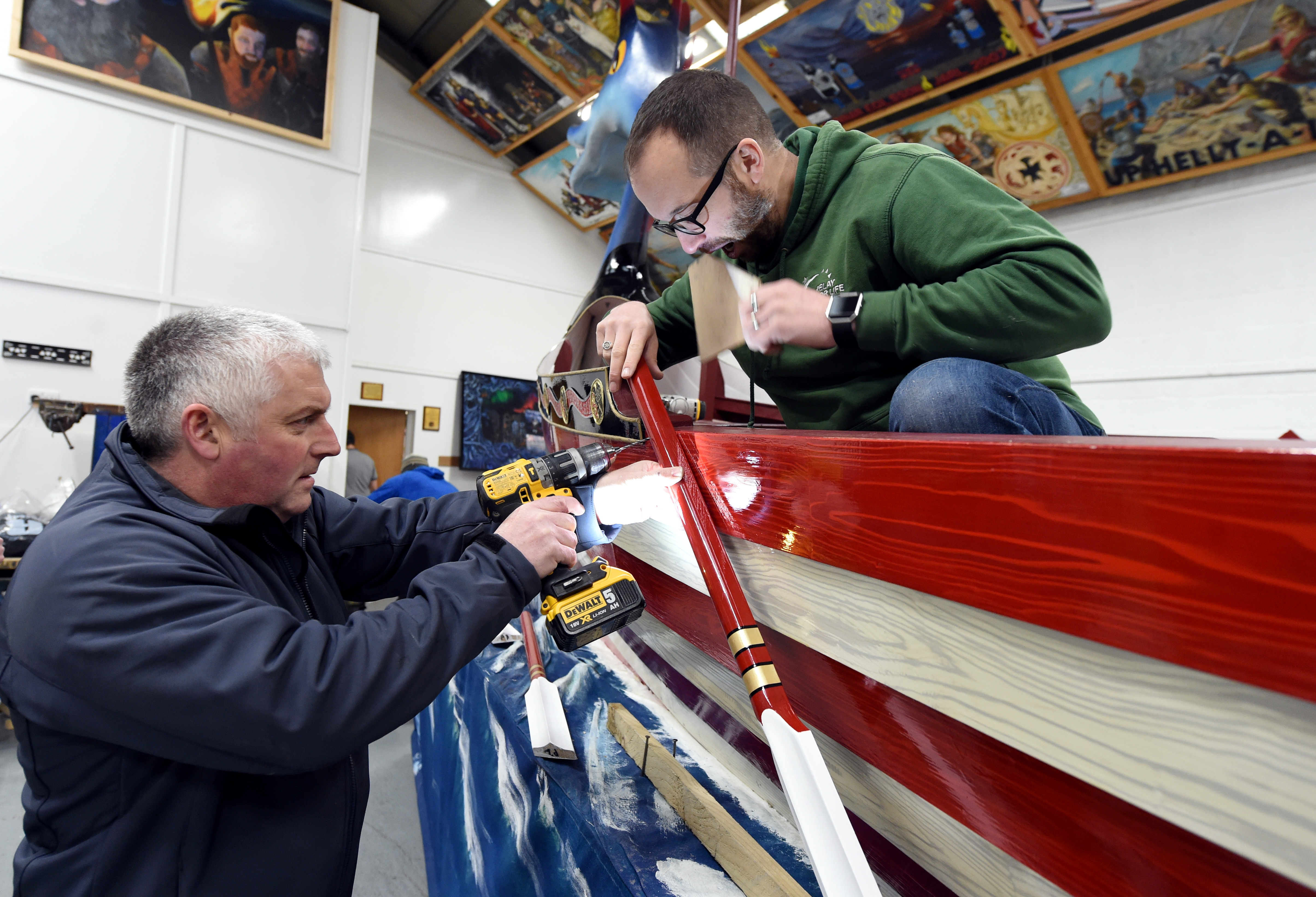 The preparation of the boat ready for Up Helly Aa, Lerwick, Shetland.  Picture by Jim Irvine  27-1-20