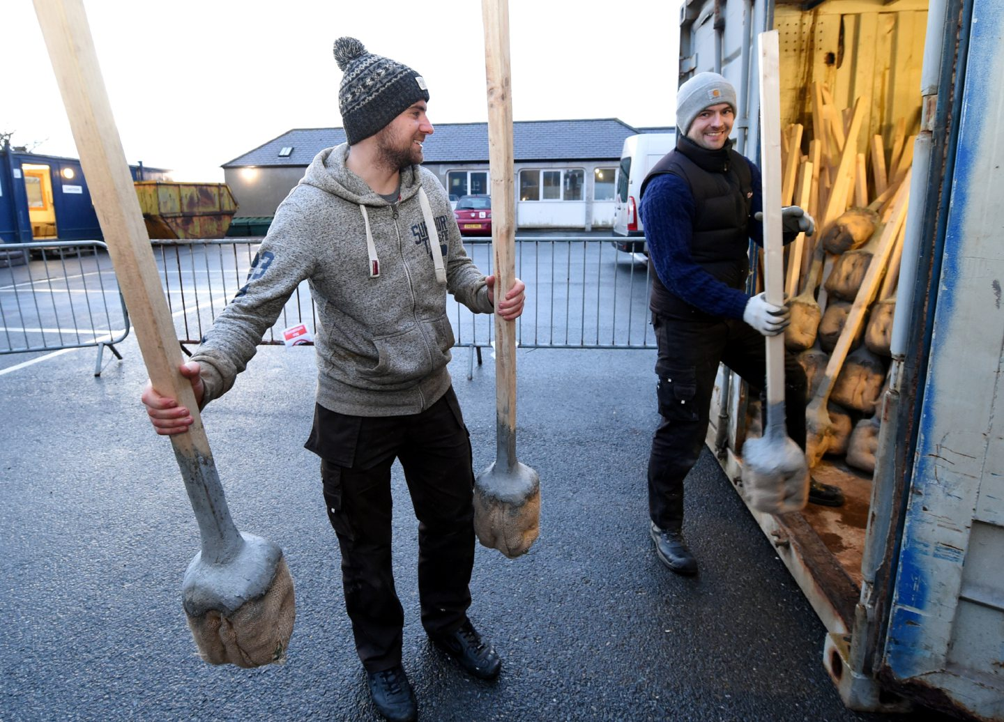 Getting the torches into place ready for soaking at Up Helly Aa, Lerwick, Shetland.  Picture by Jim Irvine