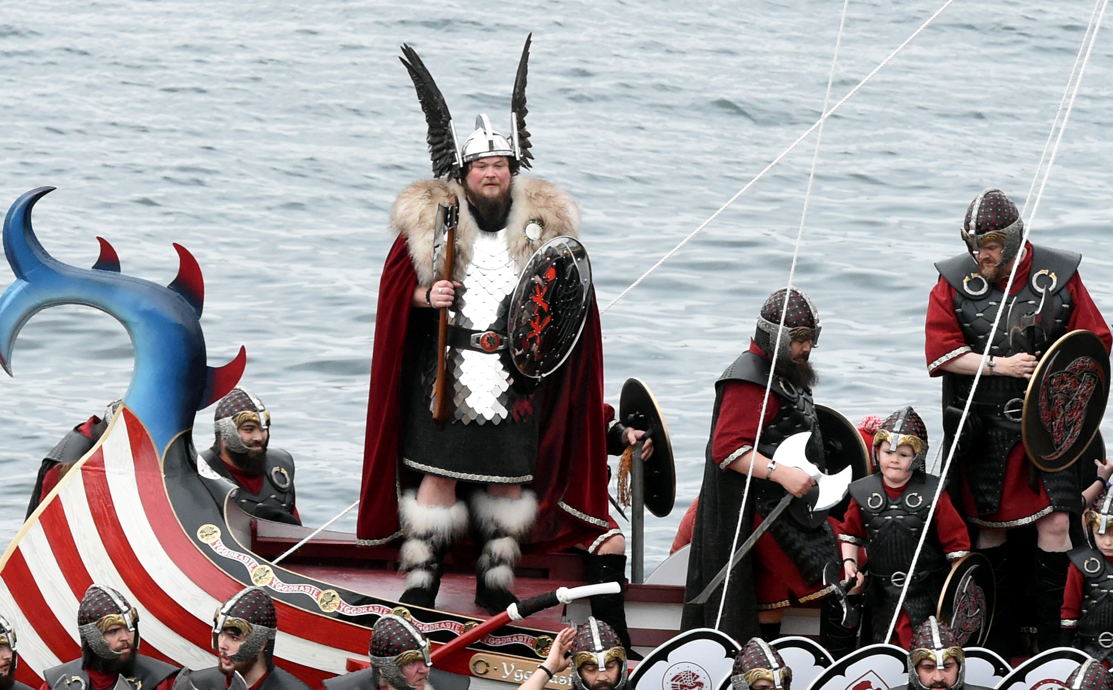 In the picture is Guizer Jarl, Liam Summers and his squad on the boat.  Picture by Jim Irvine