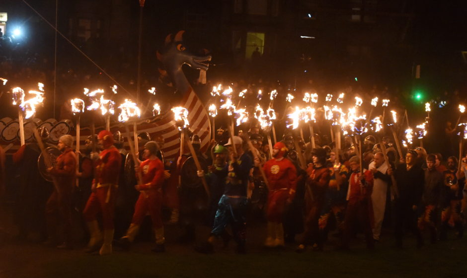 The burning of the galley at Up Helly Aa 2020. Picture by Jim Irvine